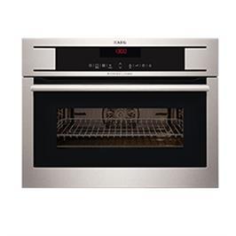 """תנור אפיה בנוי רב תכליתי עם טורבו אקטיבי משולב מיקרוגל בגובה 45 ס""""מ תוצרת AEG דגם KM8403101M"""