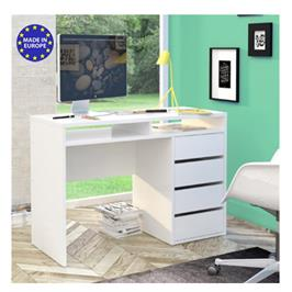 שולחן כתיבה לבן מבריק עם שידת מגירות ותאי אחסון תוצרת אירופה HOME DECOR דגם בלאנק