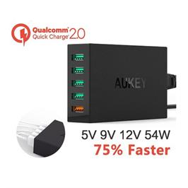 מטען מקורי 5 כניסות USB תומך QUALCOMM QUICK CHARGE 2.0 תוצרת AUKEY דגם AUKEY5-W