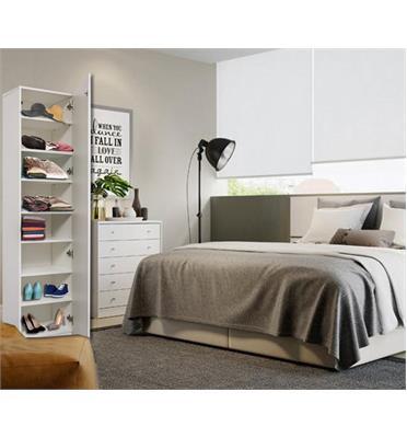 ארון בעל 8 מדפי עץ כולל דלת חזית בחיפוי מראה מבית Homax דגם שגיא