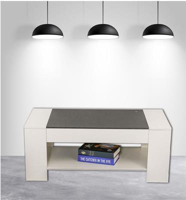 שולחן סלוני יפייפה כולל מדף תחתון לעיתונים, ספרים, ציוד נלווה וכו' מבית HOMAX דגם ג'וזף