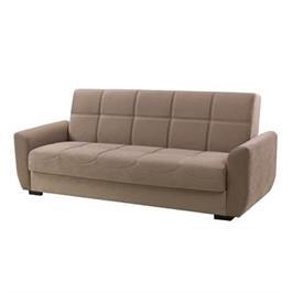 ספה מעוצבת הנפתחת למיטה, כוללת 3 מושבים בעיצוב קפיטונאז' + ארגז מצעים מבית SIRS דגם MILANO