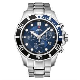 שעון יד כרונוגרף שויצרי מפלדת אל חלד עם זכוכית ספיר עמיד במים מבית SWISS MILITARY דגם SM3404403