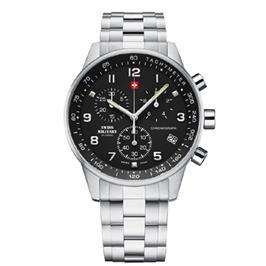 שעון כרונוגרף שויצרי מפלדת אל חלד וזכוכית ספיר למניעת שריטות מבית SWISS MILITARY דגם SM3401201