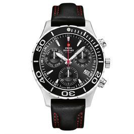 שעון כרונוגרף שוויצרי לגבר עשוי פלדת אלחלד עמיד במים מבית SWISS MILITARY דגם SM3404807