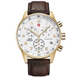 שעון יד כרונוגרף שויצרי לגבר עם זכוכית ספיר עמידה בפני שריטות מבית SWISS MILITARY דגם SM3401207