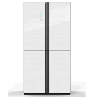 מקרר מקפיא תחתון 4 דלתות 629 ליטר בגימור זכוכית לבנה תוצרת Hisense דגם RQ81WC4SAA/WG