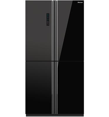 מקרר מקפיא תחתון 4 דלתות בנפח 629 ליטר בגימור זכוכית שחורה תוצרת Hisense דגם RQ81WC4SAA/BGK