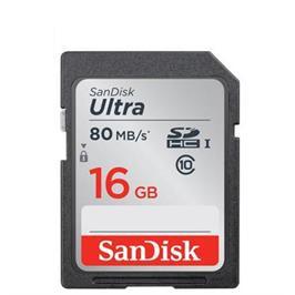 כרטיס זיכרון Ultra SDHC בנפח 16GB בתקן UHS-I 10 Class במהירות 80MB/s דגם SDSDUNC-016G-GN6IN