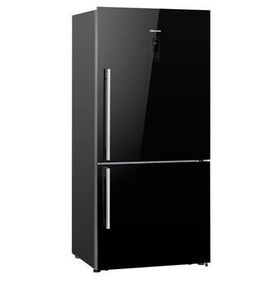 מקרר עם מקפיא תחתון 500 ליטר עם צג דיגיטלי בגימור זכוכית שחורה Hisense דגם RD60WC4SYBGK