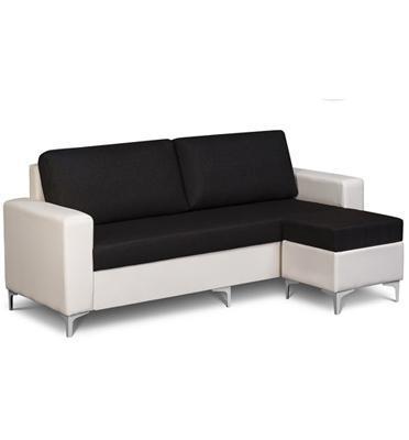 סט הכולל ספה תלת מושבית + הדום במראה פינתי מבד אריג בשילוב דמוי עור מבית OR-DESIGN דגם קרנבל