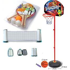 סט משחקים:מתקן סל ילדים+כדורסל מתנה+רשת למשחק טניס+זוג מחבטים+3 כדורי טניס מבית general fitness