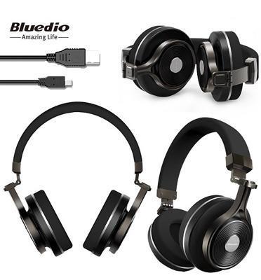 אוזניות בלוטות` Bluetooth 4.1 סאונד איכותי עד 20 שעות נגינה דרייברים מבית BLUEDIO דגם T3