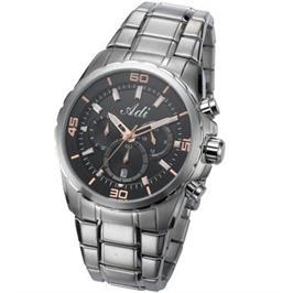שעון יד כרונוגרף לגבר עשוי פלדת אל חלד עמיד במים עד 100M שנה אחריות מבית ADI דגם 17-3A72-123