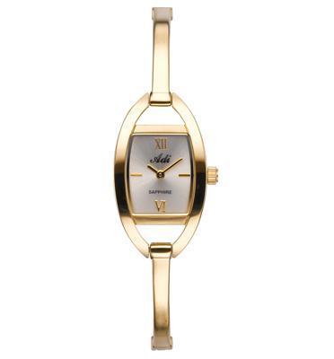 שעון יד אופנתי מוזהב לאישה מפלדת אל חלד וזכוכית ספיר עמידה בפני שריטות מבית ADI דגם 17-3B41-333