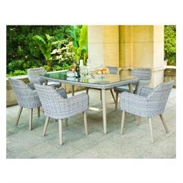 מערכת גן שולחן מלבני עם פינות מעוגלות + 4 כורסאות שילדת אלומיניום מבית SCAB דגם weimar180