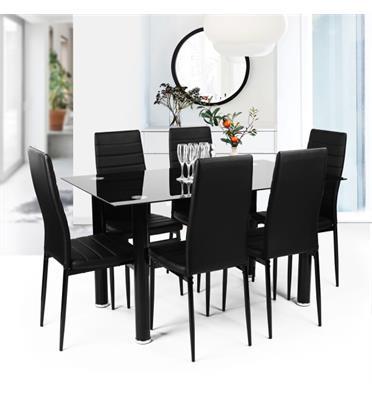 פינת אוכל מודרנית המשלבת מתכת וזכוכית וכוללת שולחן ו-4 כסאות מבית Homax דגם ונציה