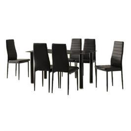 פינת אוכל מודרנית המשלבת מתכת וזכוכית וכוללת שולחן ו- 6 כסאות מבית Homax דגם וונציה