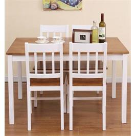 פינת אוכל מעץ מלא הכוללת שולחן עם 4 כיסאות בגוון דבש בשילוב לבן מבית BRADEX דגם NERON