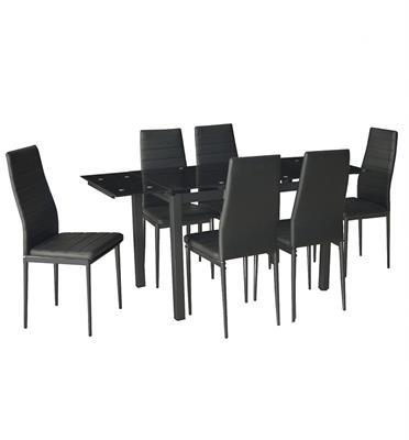 פינת אוכל מודרנית המשלבת מתכת וזכוכית וכוללת שולחן-נפתח ו-6 כסאות מבית Homax דגם טורינו