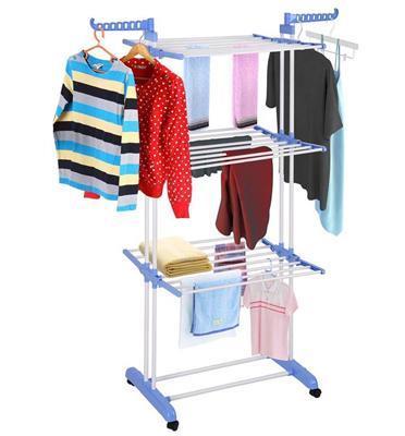 מתלה מתקפל וחסכוני ליבוש הכביסה ולתליה יציב רב מדפים וזרועות עשוי מתכת חזקה מבית ILIKE דגם ערבה