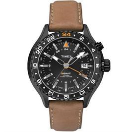 שעון יד לגבר 3GMT עם תאורה עשוי פלדת אל חלד מושחרת ועמיד במים מבית TIMEX דגם TI-2P427