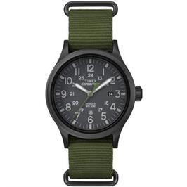 שעון יד אנלוגי ספורטיבי לגבר עם תאורה עשוי פלדת אל חלד מושחרת מבית TIMEX דגם TS-4B047