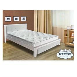 מיטת עץ מלא גושני בשילוב כרית מרופדת עם אבני קריסטל ללא מזרן מבית אולימפיה דגם נויה