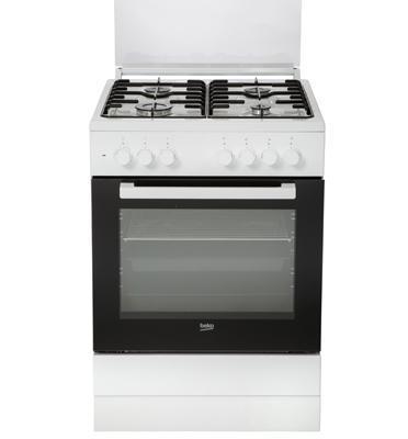 תנור משולב כיריים 4 מבערי גז 6 תוכניות אפיה עם טורבו צבע לבן מבית beko דגם FSE62120DWDSL