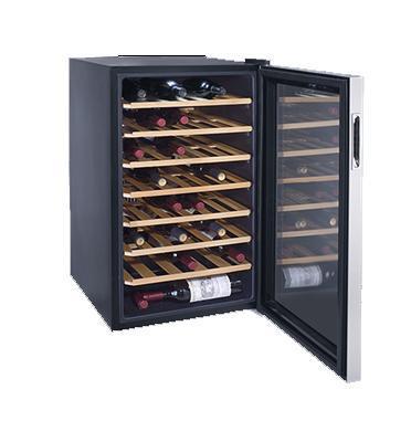מקרר יין 45 בקבוקים מדפי עץ מדחס איכותי ושקט דלת שקופה במראה צבע שחור מבית LANDERS דגם JC128