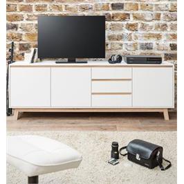 מזנון קומודה מתאים לכל חדר צבע לבן עם פסים של אלון עשוי עץ סנדביץ' מבית BRADEX דגם APART-3