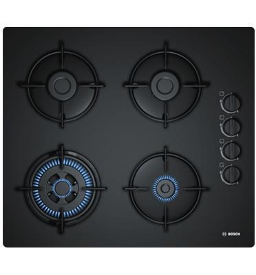 """כיריים גז 60 ס""""מ עם פיקוד צד - אזור הבישול הרצוי מופעל בנוחות מהצד תוצרת BOSCH דגם POH6B6B10Y"""