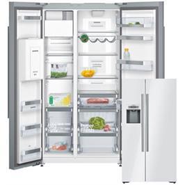 מקרר דלת ליד דלת בנפח 566 ליטר זכוכית לבנה No-Frost תוצרת SIEMENS דגם KA92DSW30