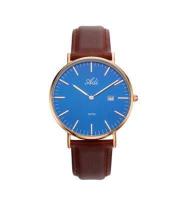 שעון יד לגבר עם תאריכון עשוי פלדת אל חלד ועמיד במים מבית ADI דגם 18-3794-571