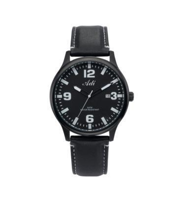 שעון יד אנלוגי לגבר עשוי פלדת אל חלד מושחרת ועמיד במים עד 50M מבית ADI דגם 21-6795-991
