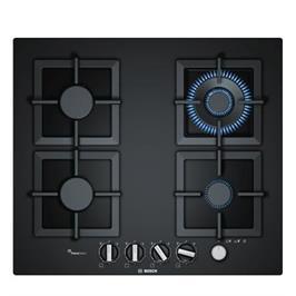"""כיריים גז 60 ס""""מ מסדרת FlameSelect זכוכית מחוסמת שחורה 4 מבערים תוצרת בוש דגם PPH6A6M20Y"""
