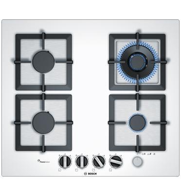 """כיריים גז 60 ס""""מ מסדרת FlameSelect זכוכית מחוסמת לבנה 4 מבערים תוצרת BOSCH דגם PPH6A2M20Y"""