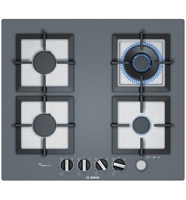 """כיריים גז 60 ס""""מ מסדרת FlameSelect זכוכית מחוסמת גון נרוסטה 4 מבערים תוצרת BOSCH דגם PPH6A9M20Y"""