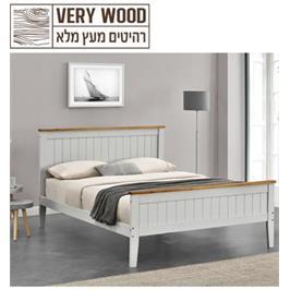 """מיטה זוגית 140/190 ס""""מ מעץ מלא מסדרת VERY WOOD מבית .HOME DECOR דגם אשלי"""