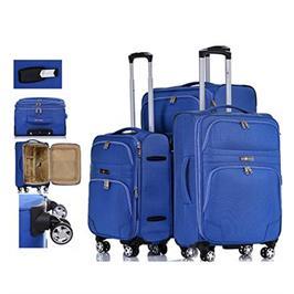 סט מזוודות בד 3 יח' | 28 | 24 | 19 אינטש דגם רחב ומפואר מבית SWISS VOYAGER דגם Geneva
