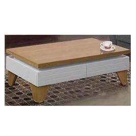 שולחן לסלון בגימור אפוקסי לבן בשילוב עץ מעוצב במראה יוקרתי לשידרוג הסלון - LEONARDO דגם לאגרדה