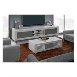 מערכת מזנון ושולחן בגימור אפוקסי לבן עם אפור בעיצוב יוקרתי לשידרוג הסלון LEONARDO דגם novia