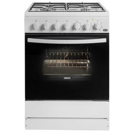 תנור משולב כיריים גז 4 מבערים 4 מפלסי אפייה צבע לבן תוצרת ZANUSSI דגם ZCK67201W