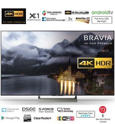 """טלויזיה """"65 4K HDR Premium Android TV  Sony. דגם KD-65XE9005BAEP מתצוגה"""
