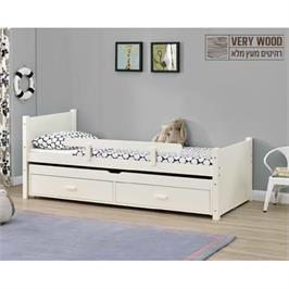 מיטת ילדים מעץ מלא עם מיטת חבר נשלפת מסדרת VERY WOOD של HOME DECOR דגם נוי