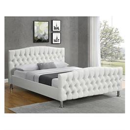 מיטה זוגית מעוצבת בריפוד דמוי עור לבן מבית HOME DECOR דגם מרי